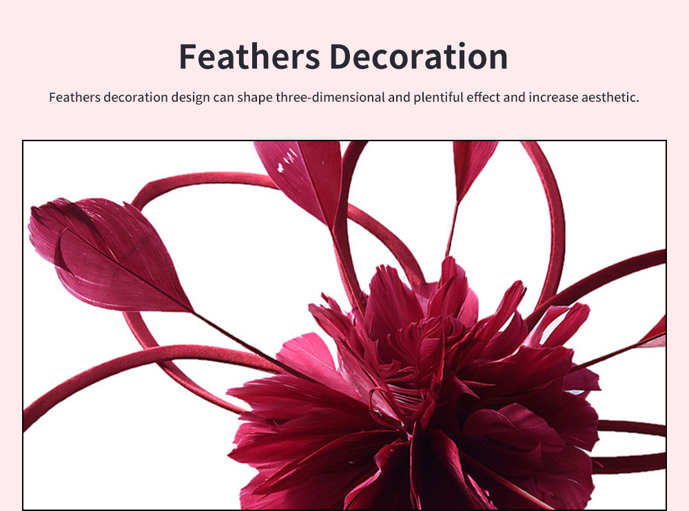Flower Hairpin for Dinner and Annual Meeting Clip Design Western Style Feathers Decoration Plentiful Ultralight Hat 3