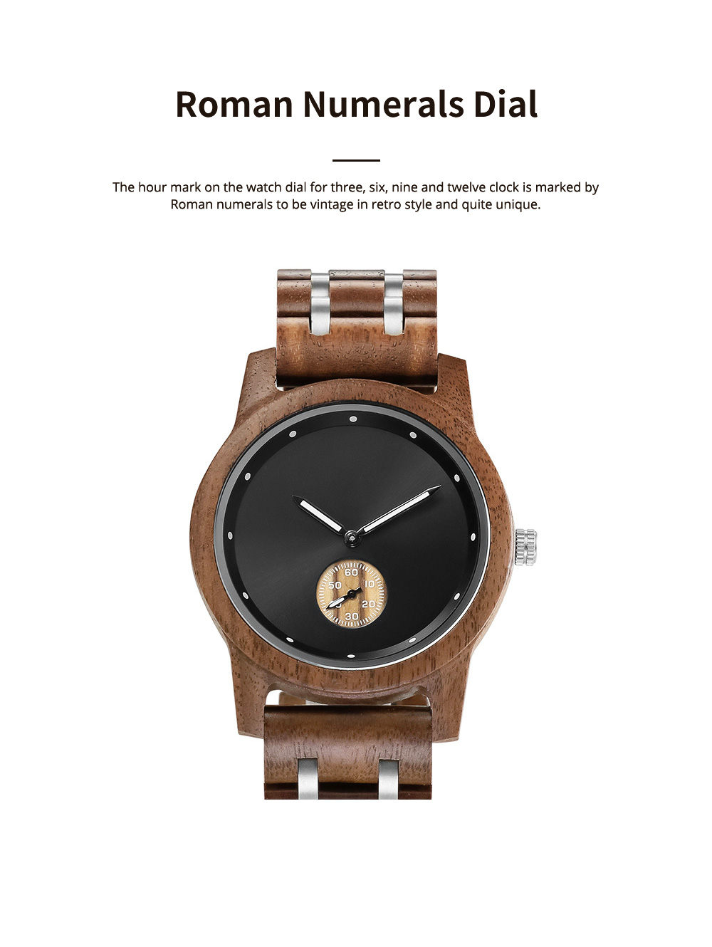 Casual Wood Watch with Wood Watchcase and Bracelet for Unisex Use Waterproof Japanese Quartz Movement Wood-steel-mixed Wristwatch 3