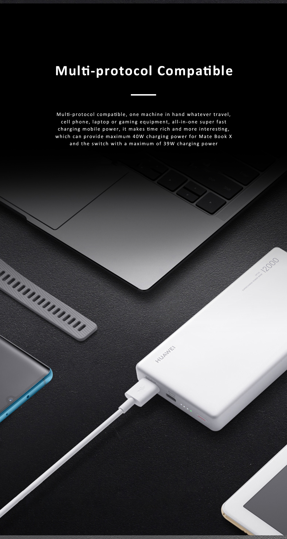 Huawei Mobile Phone Power Bank Wireless Portable Charger 12000 mAh 40W External Battery Pack Fast Charge Treasure 3