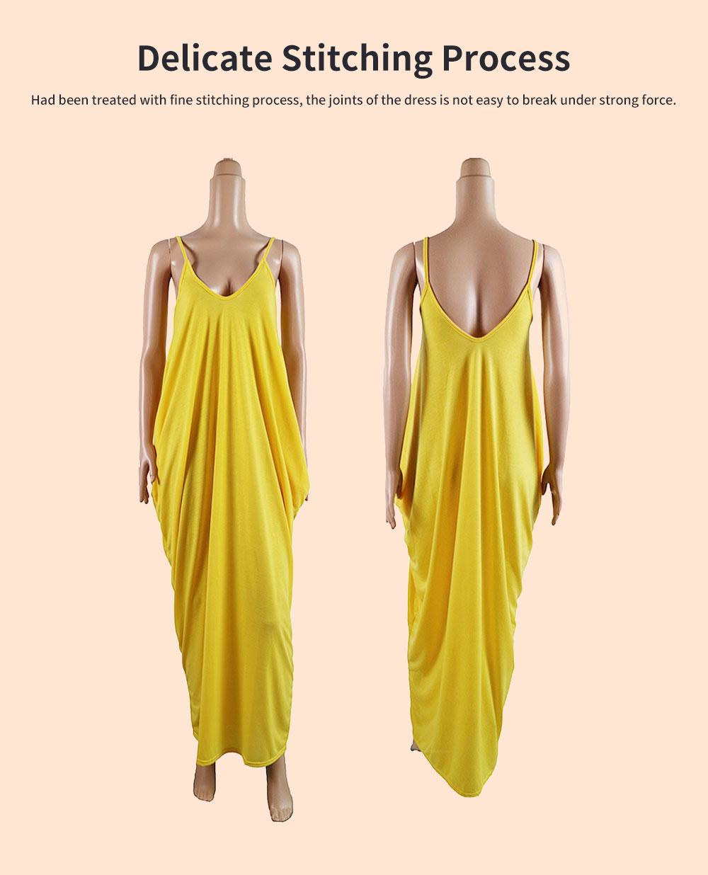 Sexy Fancy V-neck Line Women Braces Dress Summer Vacation Beach Irregular Loose Low-cut Long Dress 4