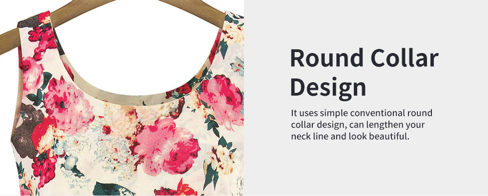 Printed Dress for Women Round Collar Exquisite Flower Printing Light Blue and Apricot Polyester One-piece Dresses Summer 4