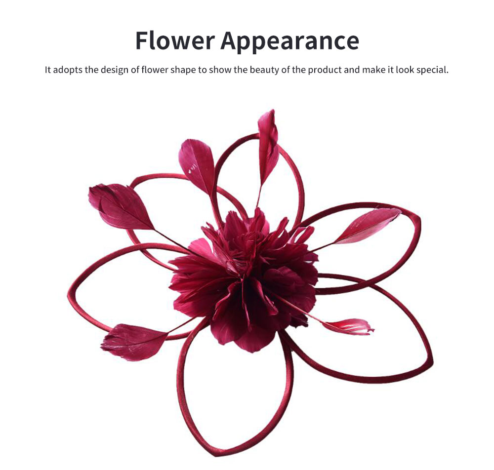 Flower Hairpin for Dinner and Annual Meeting Clip Design Western Style Feathers Decoration Plentiful Ultralight Hat 1