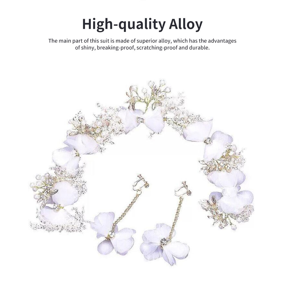 Fancy Flower Bees Model Artificial Pearl Decorative Hair Ornament Delicate Girl Crown Ear Clip Accessories Suit 3PCS 1