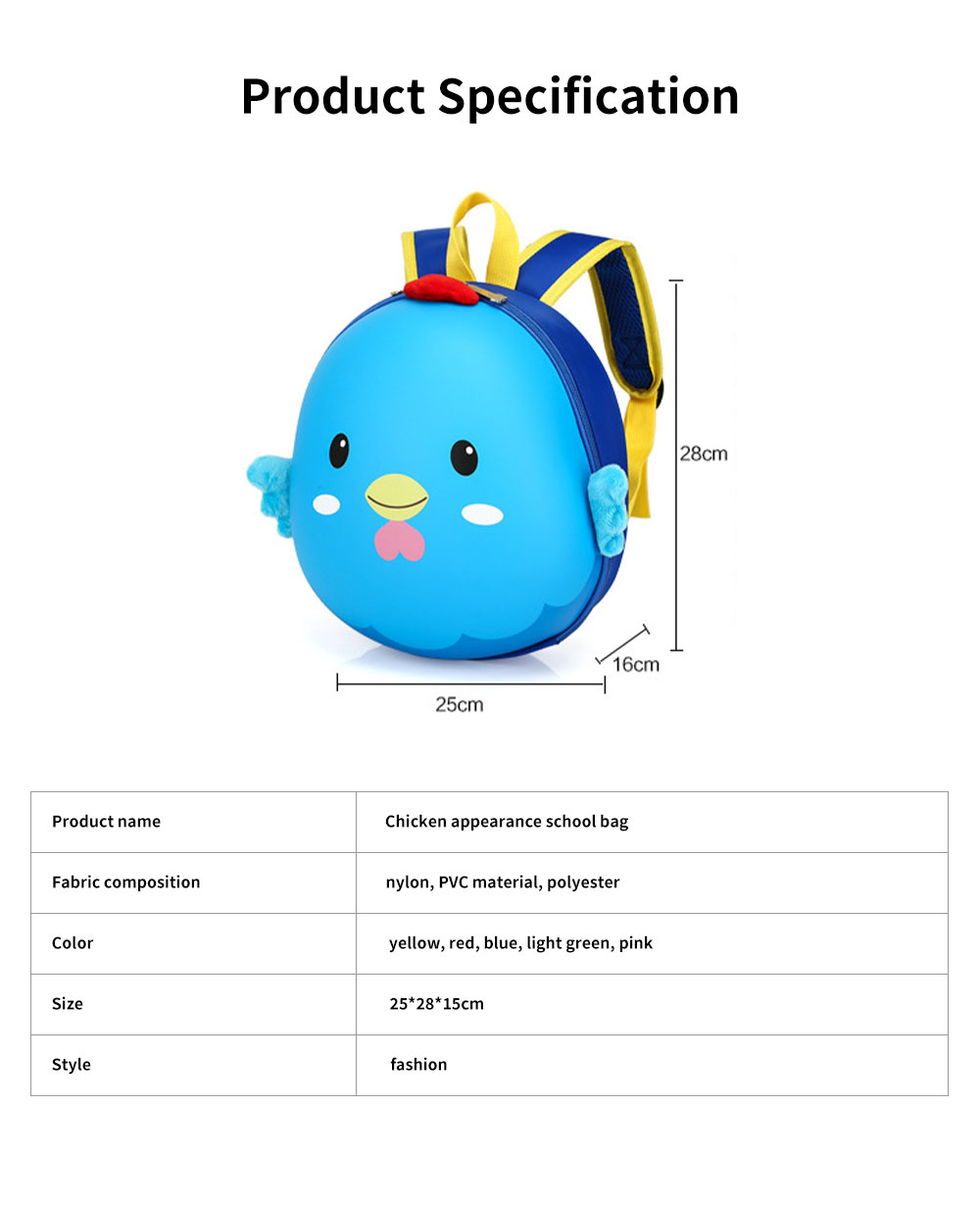 Chicken Appearance School Bag for Student Breathable Shoulder Strap Quality Buckles Metal Zipper Comfortable Handle Backpack 6
