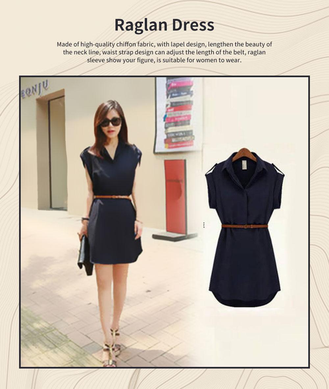 Raglan Dress for Women Lapel Design with Waist Strap Elegant Gorgeous One-piece Chiffon Short-sleeved Dress 0