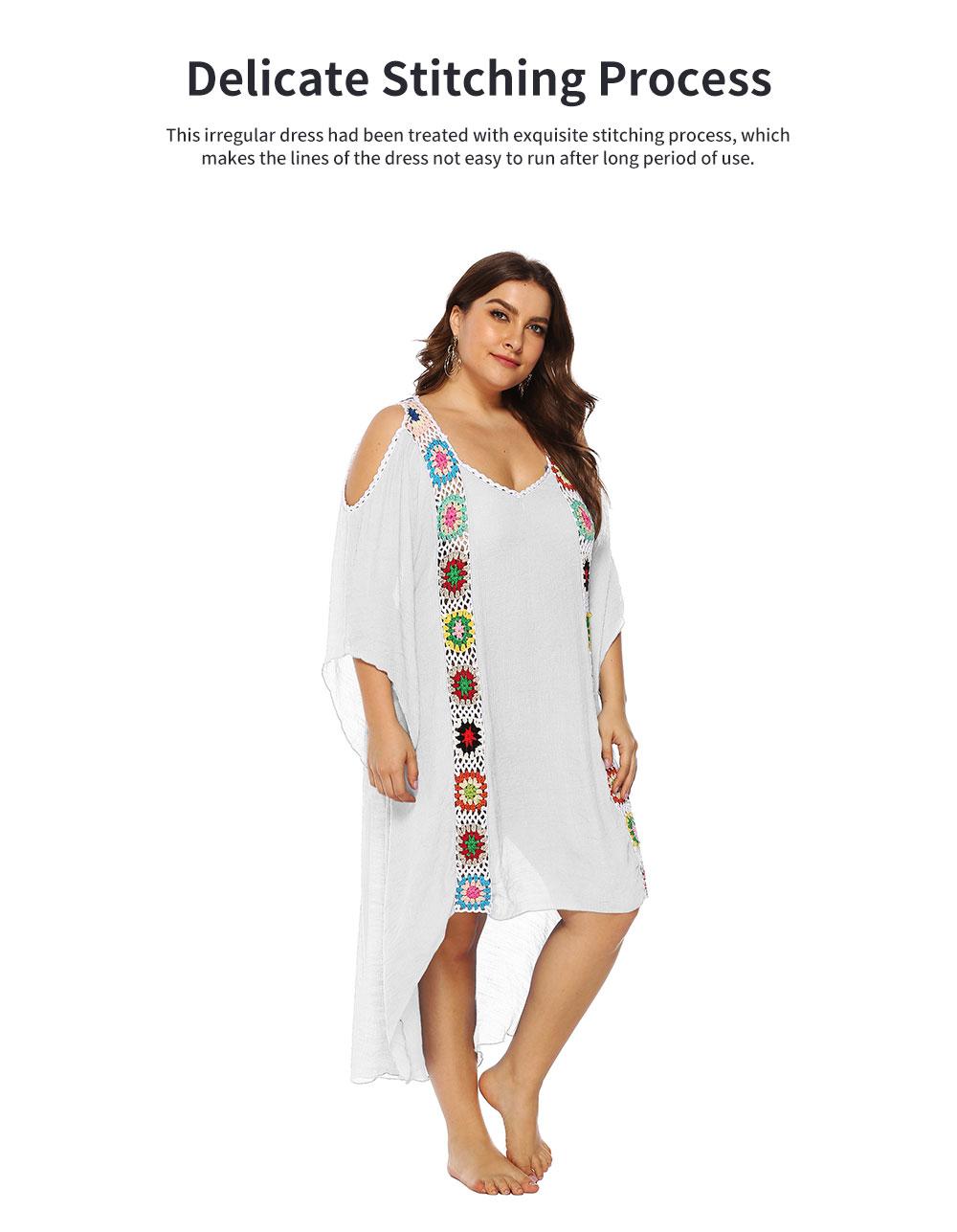 Minimalist Elegant Large Size Off-the-Shoulder Irregular Joint Dress Soft Slub Cotton Bikini Smock Beach Long Dress 5