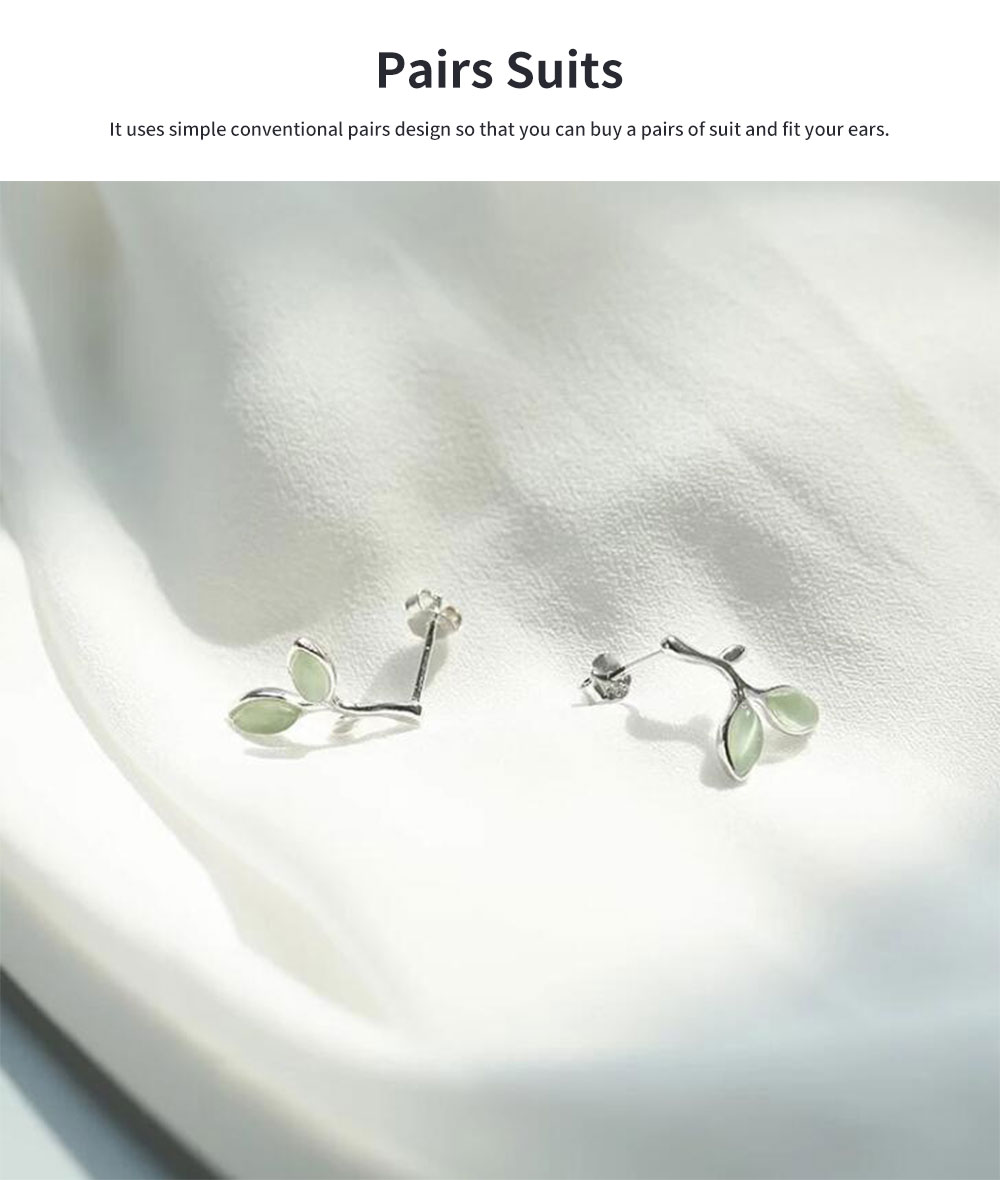 Green Leaf earrings for women Opals Pairs Suits Fashion and Simple Style 925 Sterling Sliver Ear Stud 4