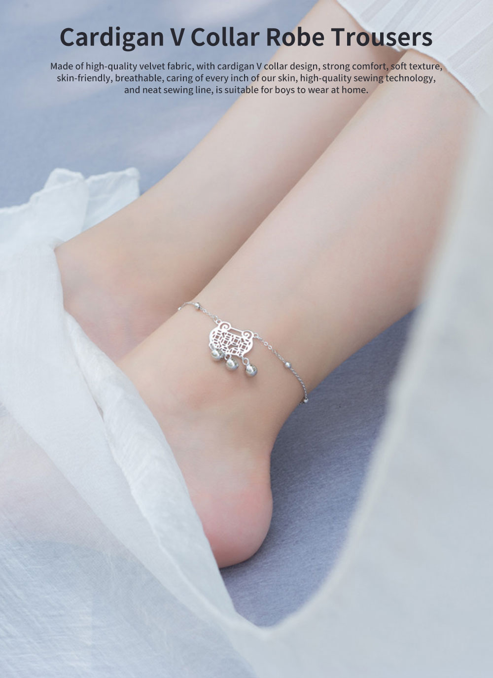 Pure Silver Anklet for Women Safety Lock and Lucky Bell National Style Fade-proof and Anti-allergy Lovely Chain 0