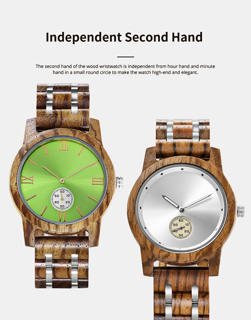 Casual Wood Watch with Wood Watchcase and Bracelet for Unisex Use Waterproof Japanese Quartz Movement Wood-steel-mixed Wristwatch 5