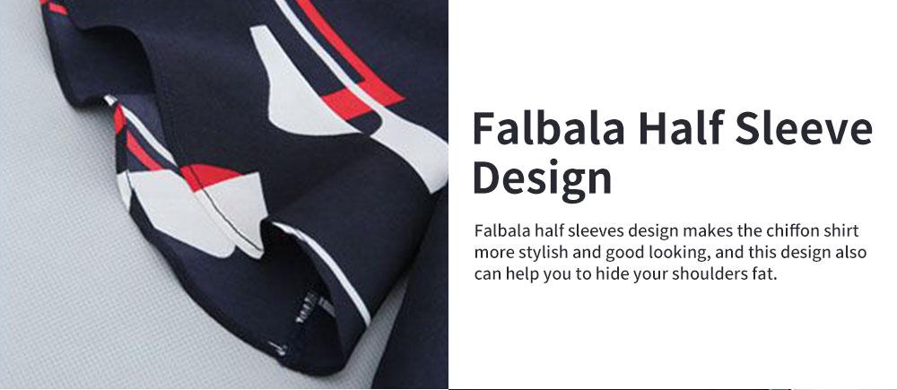 Stylish V-Neck Line Chiffon Shirt Loose Pants Suit for Ladies Minimalist Geometric Figure Pattern Decorative Tops with Falbala Sleeves 3