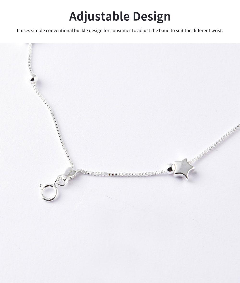 Luck Bracelet for Women Wide Range Stars Shape Korean Style 925 Sterling Silver Hand Catenary 4