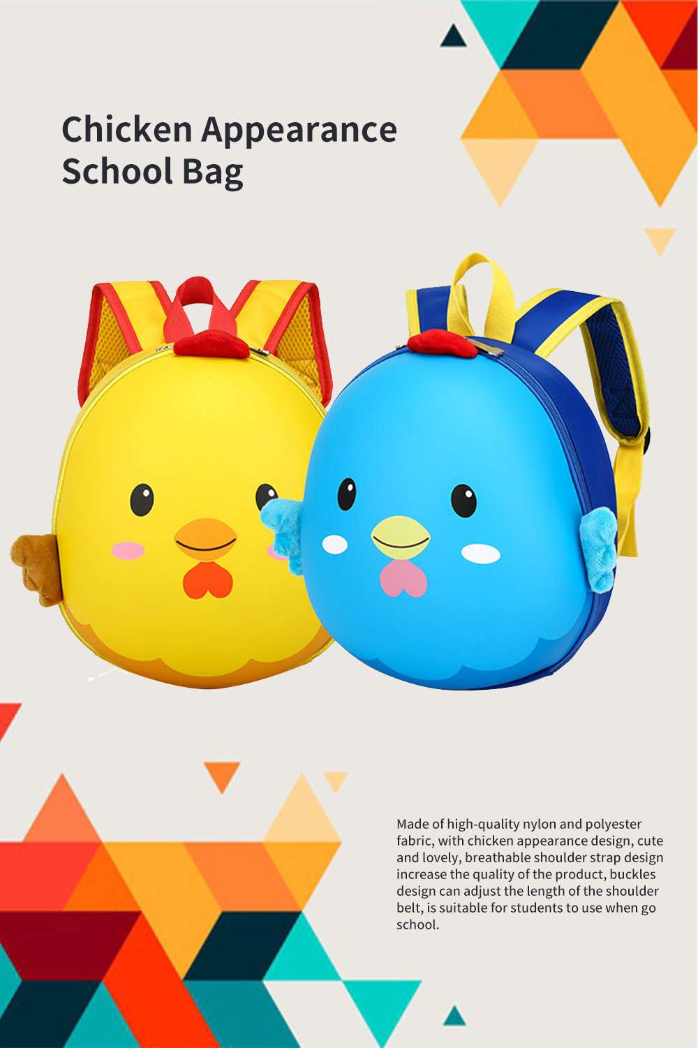 Chicken Appearance School Bag for Student Breathable Shoulder Strap Quality Buckles Metal Zipper Comfortable Handle Backpack 0