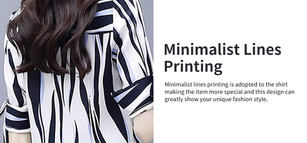 2PCS Minimalist Stylish Lines Printing Ladies Chiffon Shirt Loose Pants Suit Half Sleeve Tops Straight-leg Pants for Women 5