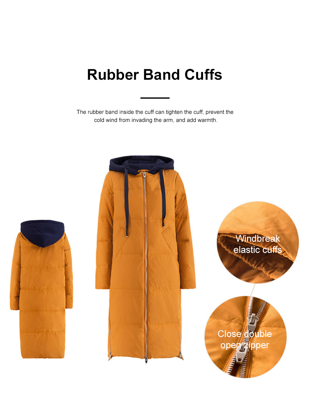 Inman Winter Autumn Long Hooded Down Wear New Coloured Hat Drawing Rope Side Opening Female Warm Down Jacket 6