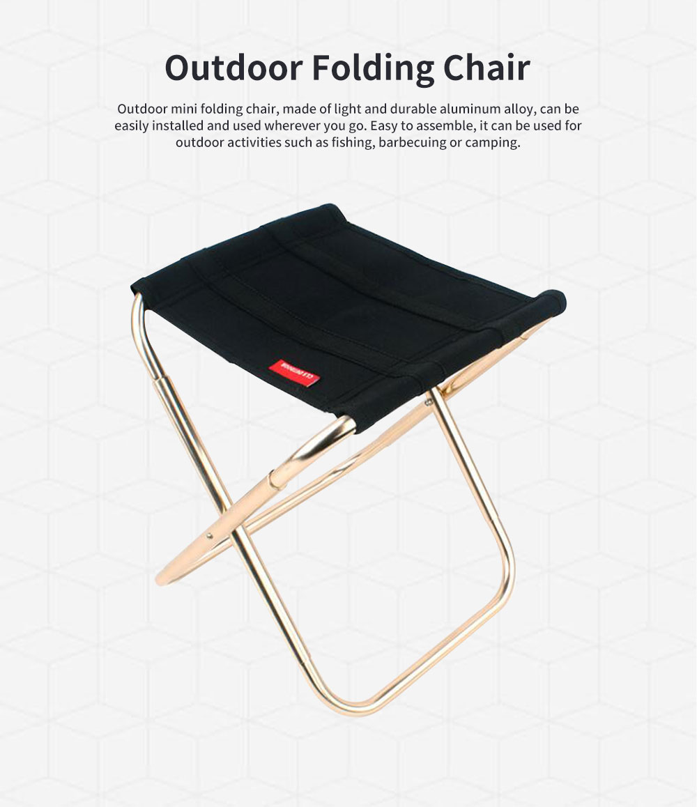 Outdoor Folding Chair, Aluminum Alloy Folding Stool for Fishing Barbecue Camping Portable Train Stool 0