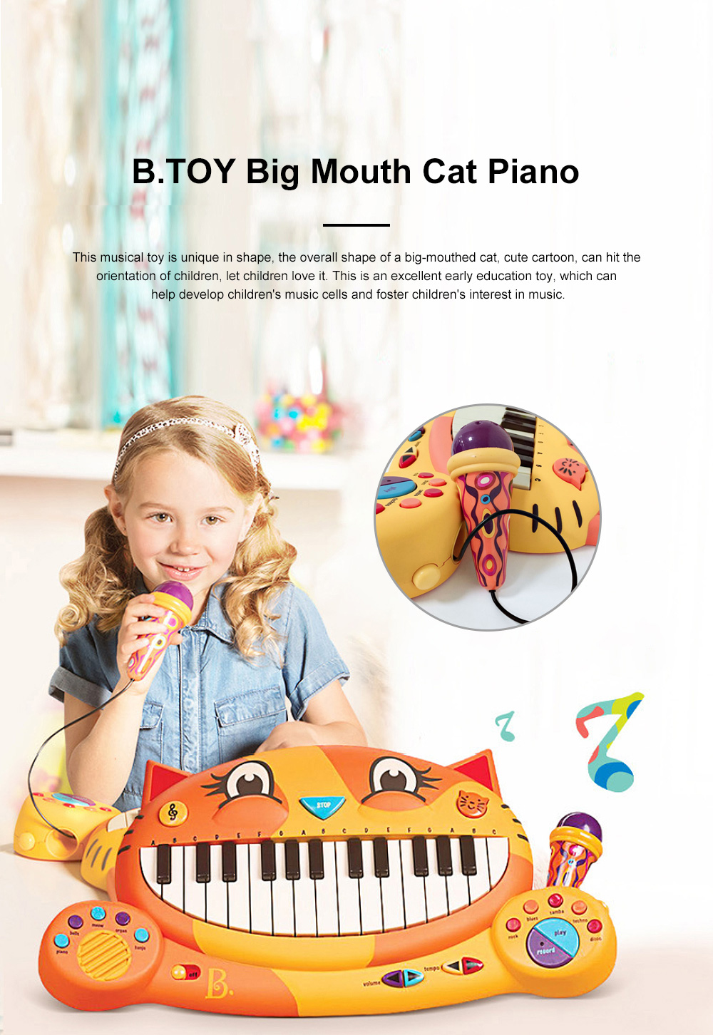 B.TOY Big Mouth Cat Piano Cartoon Early Teach Smart Electronic Piano for Infants and Young Children Music Toys 0