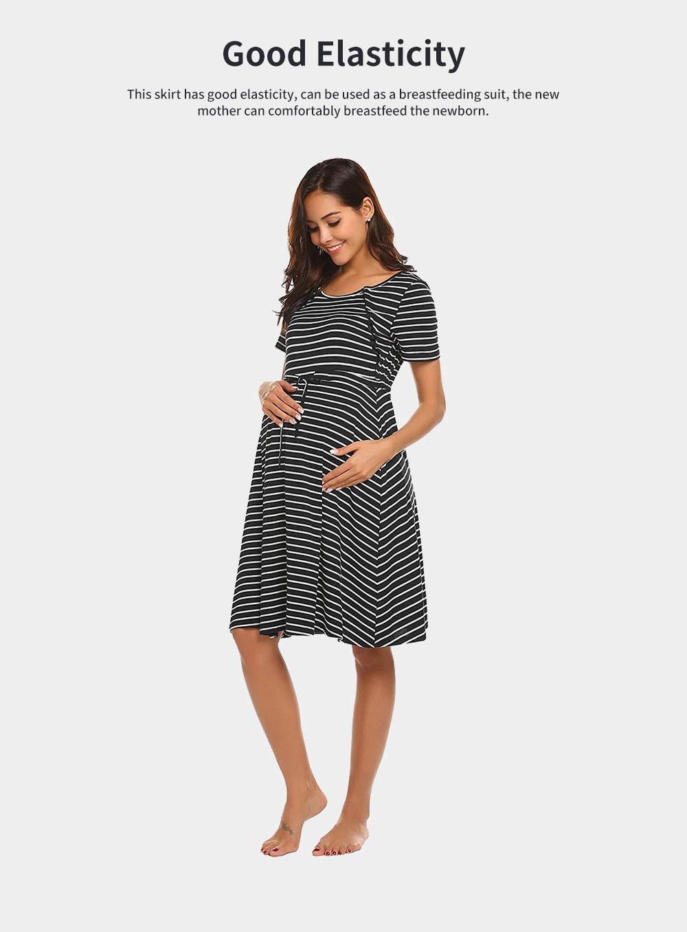 Fashionable Striped Skirt for Pregnant Women Short Sleeves Dress for Breast-feeding 2