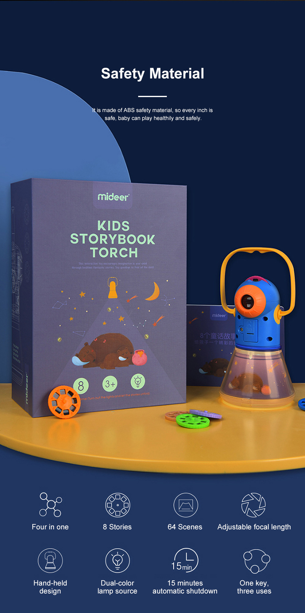 Multifunctional Storybook Torch Projector Light Baby's Early Education Toys Children's Bedtime Star Night Light Projection Lights With 8 Fairy Tale 1