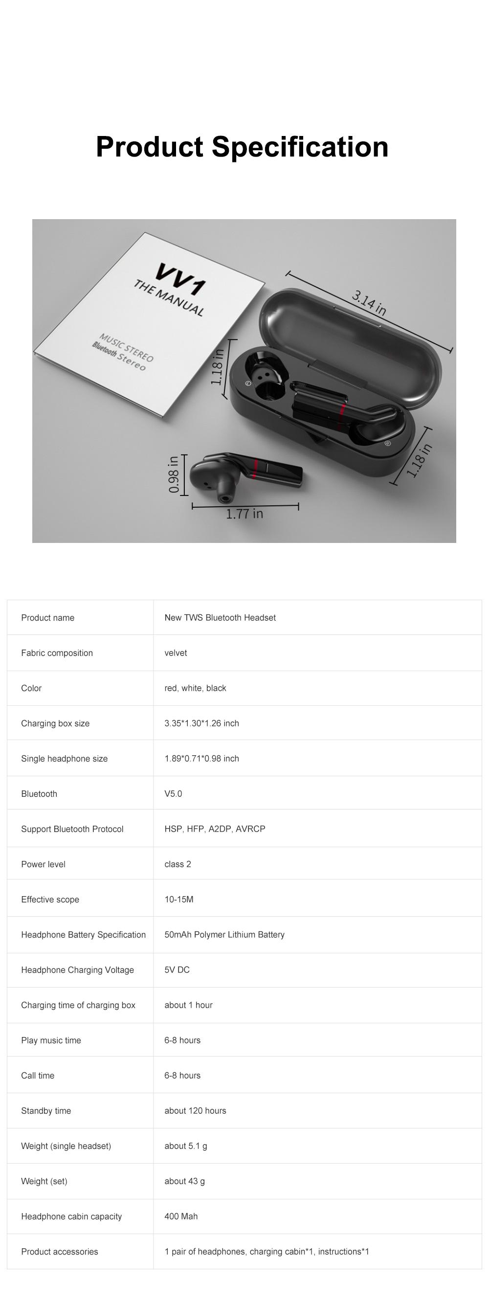 New Earhook TWS Bluetooth Headset Wireless 5.0 Ear-mounted Touch Headset Sport Earphone 7