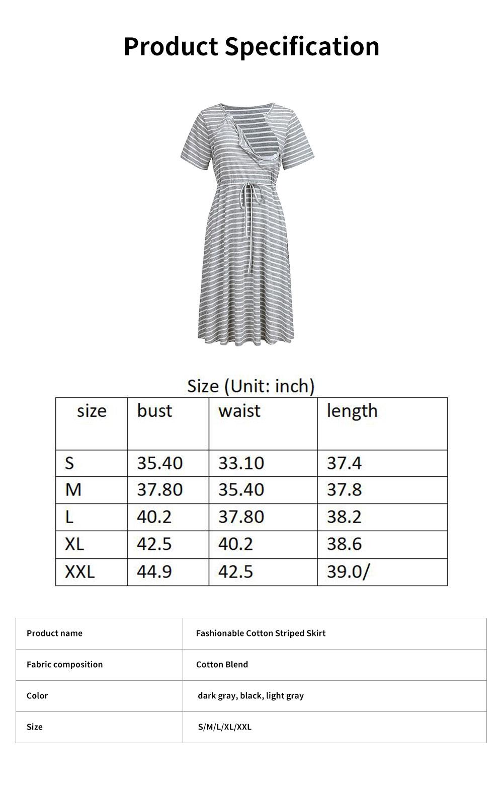 Fashionable Striped Skirt for Pregnant Women Short Sleeves Dress for Breast-feeding 6