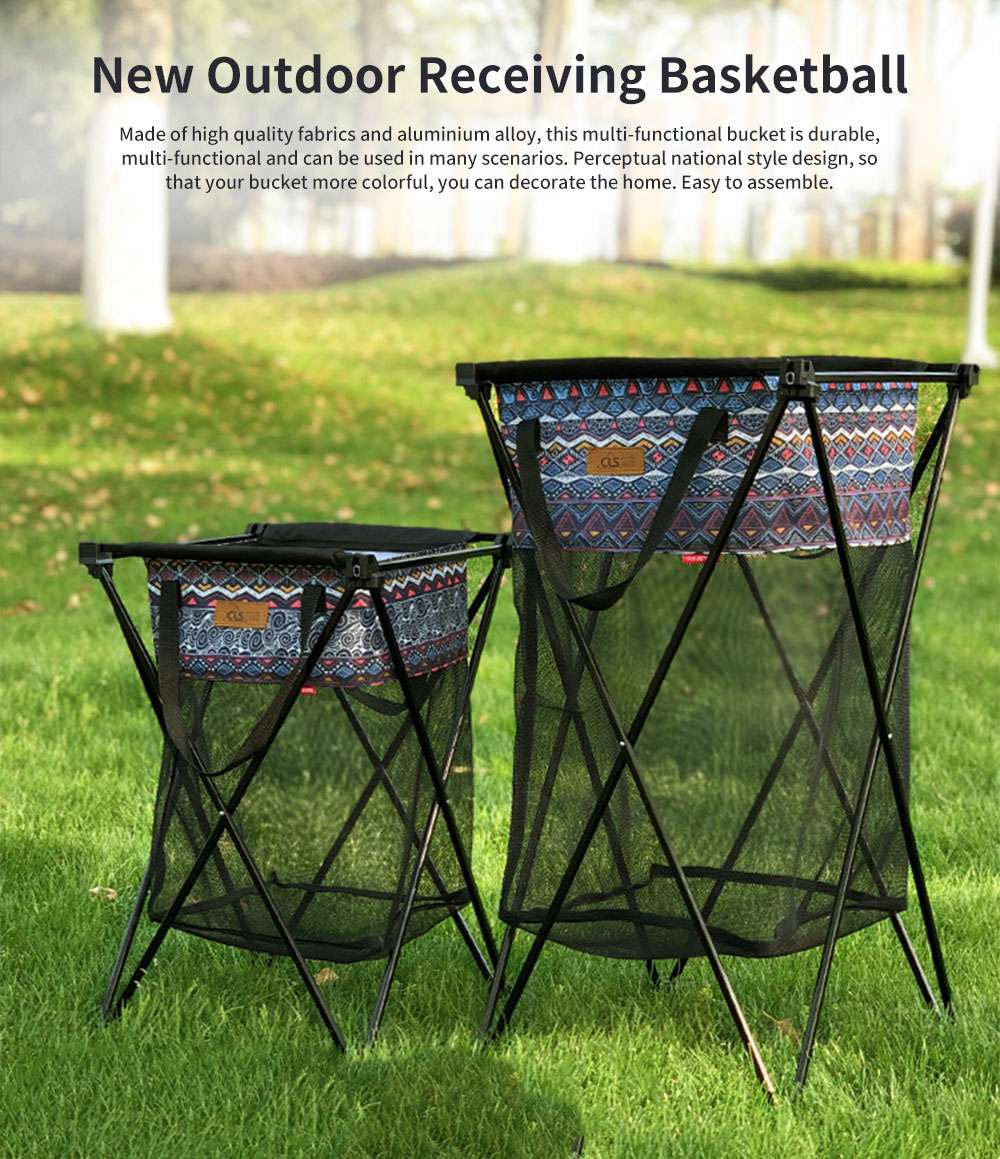 New Outdoor Receiving Basket, Multifunctional Receiving Barrel Dirty Clothes Baskets, Laundry Baskets Storage Bags Camping Garbage Hanging Rack 0