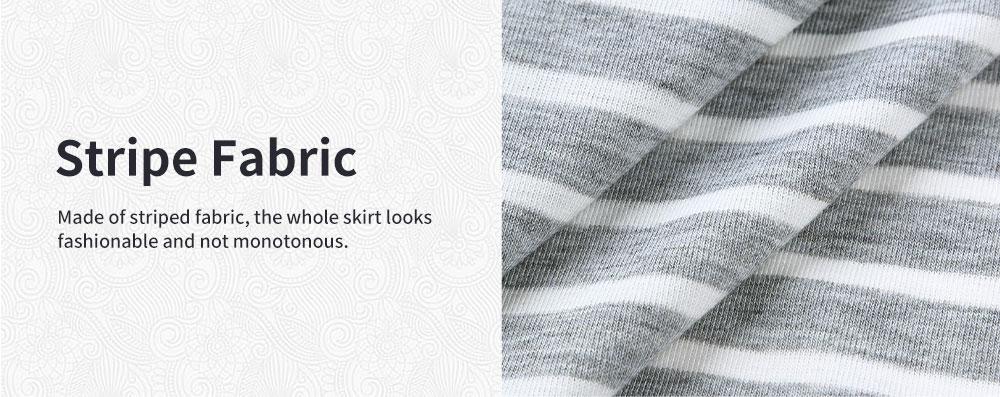 Fashionable Striped Skirt for Pregnant Women Short Sleeves Dress for Breast-feeding 5