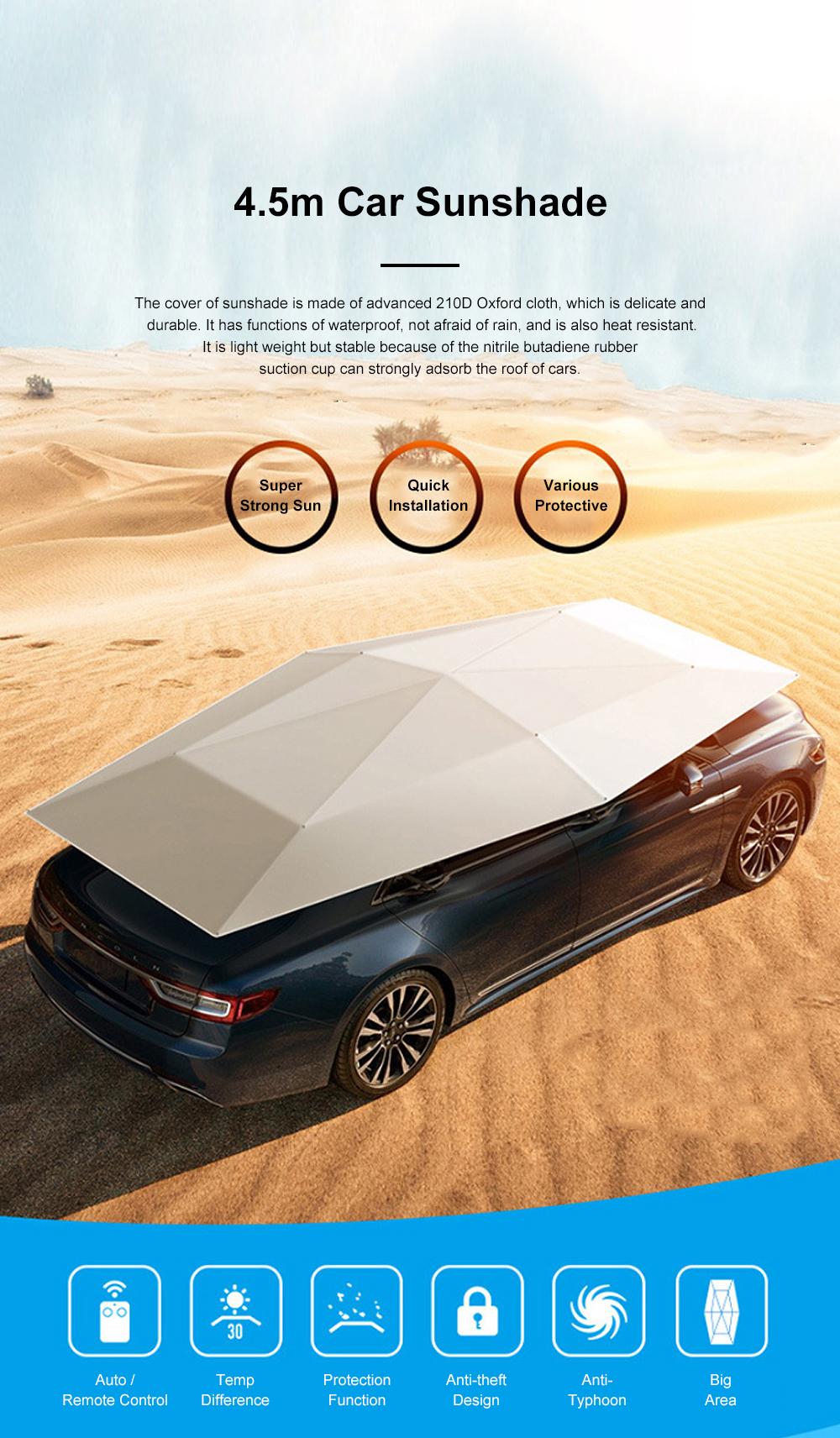 4.5m Car Umbrella Sunshade Sun Heat-proof Lightweight Car Parasol Anti-theft Car Umbrella with Remote Control Function 0