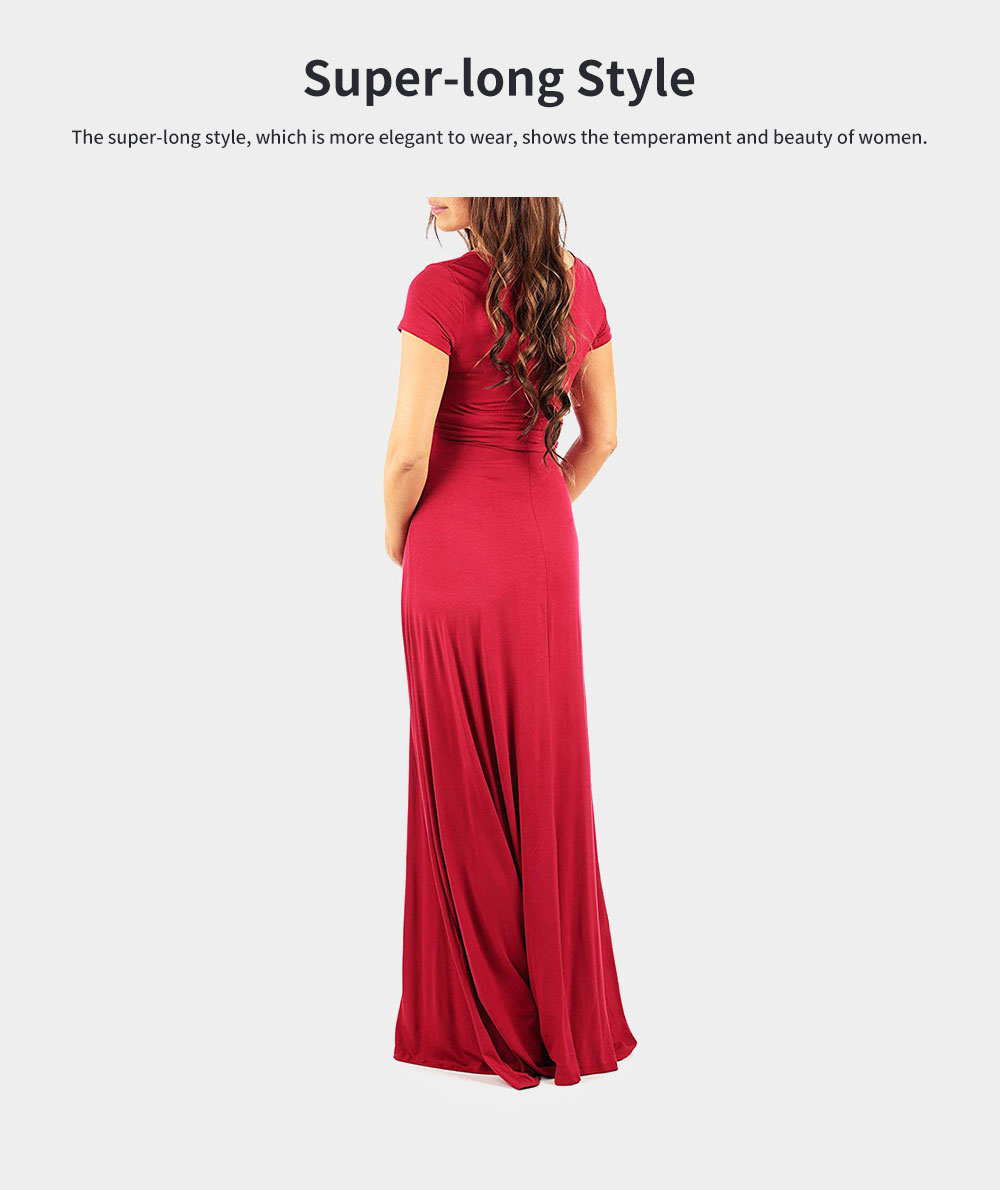 V-neck Short Sleeve Lady's Long Skirt, Pure Colors Maternal Skirt with Belt, European and American Styles 2020 2