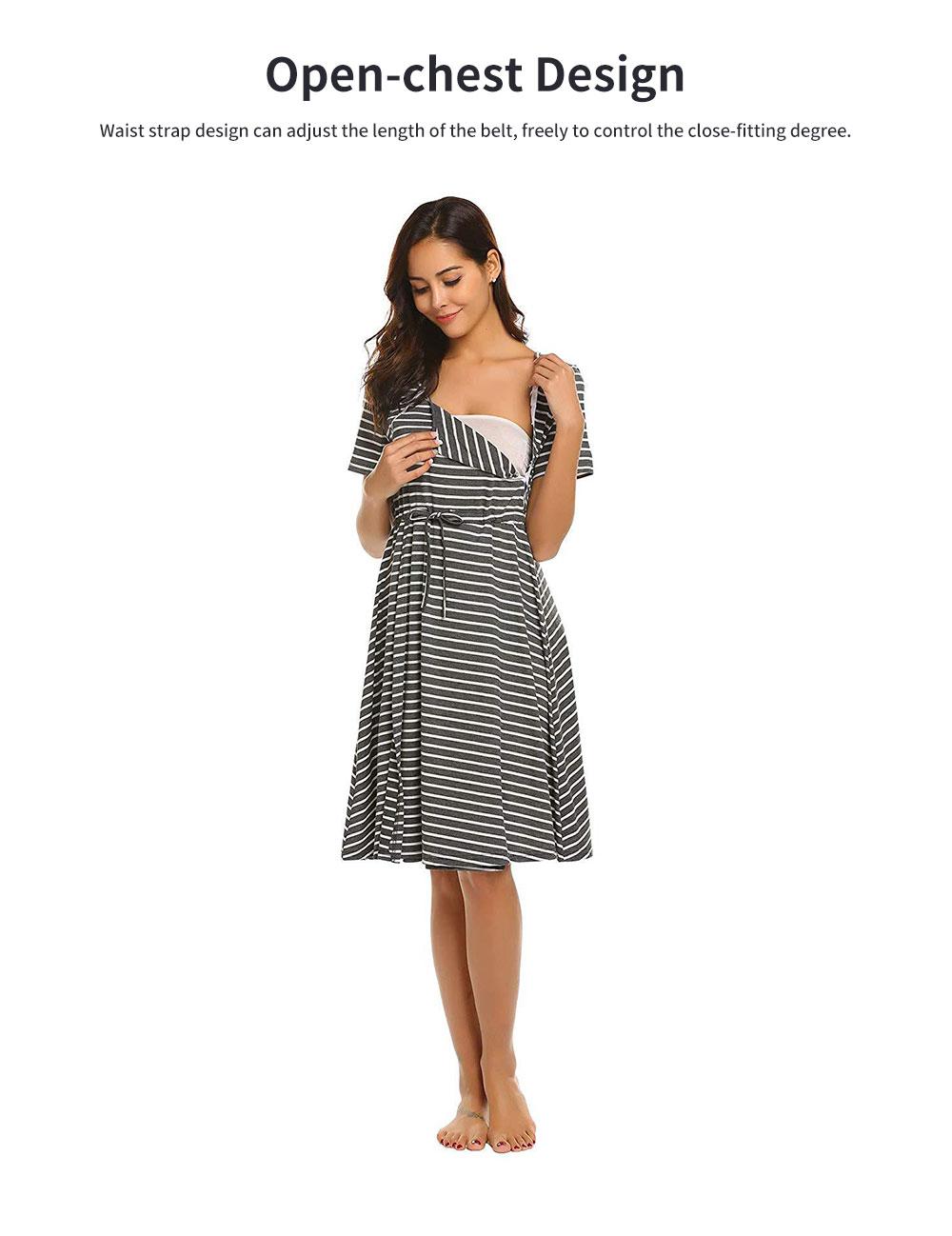 Fashionable Striped Skirt for Pregnant Women Short Sleeves Dress for Breast-feeding 1