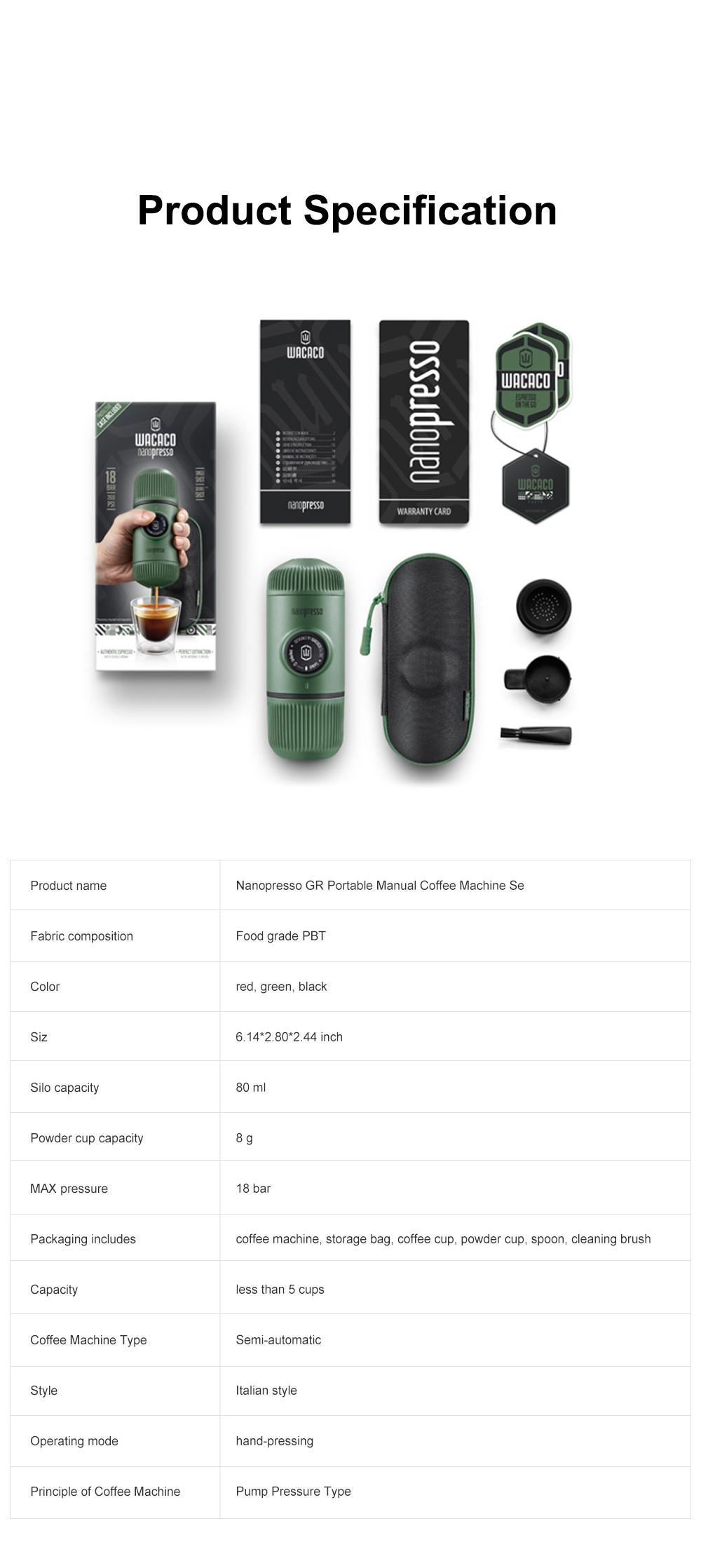 Nanopresso GR Portable Manual Coffee Machine Set Outdoor Dual-purpose Manual Espresso Machine 7