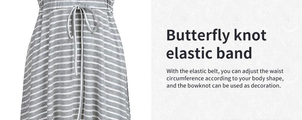 Fashionable Striped Skirt for Pregnant Women Short Sleeves Dress for Breast-feeding 4