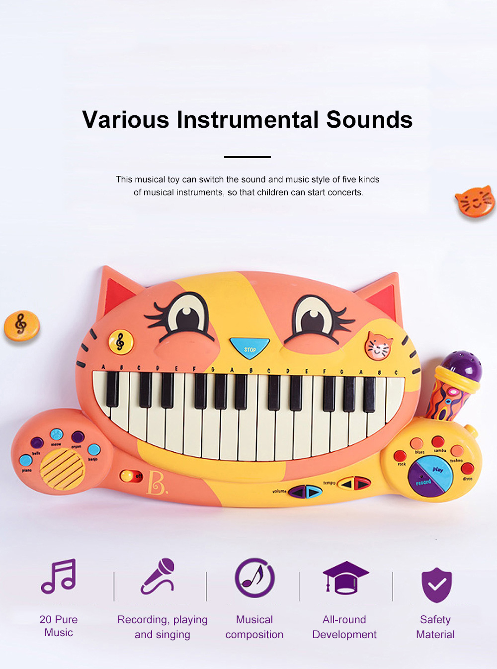 B.TOY Big Mouth Cat Piano Cartoon Early Teach Smart Electronic Piano for Infants and Young Children Music Toys 3