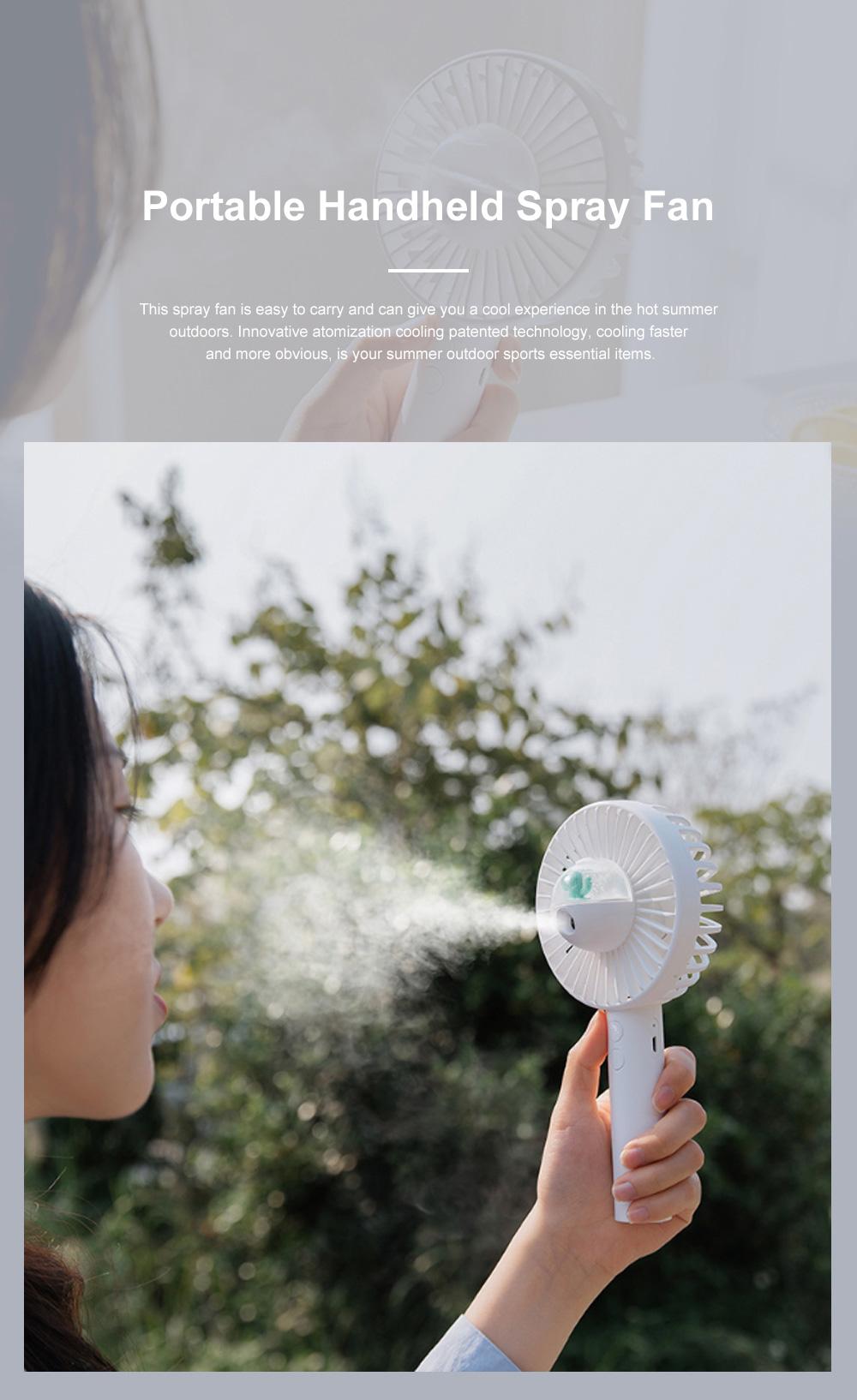 Portable Handheld Fan Cartoon Air Moistening Spray Fan Outdoor Portable Handheld Fan Creative Mini USB Cooler for Summer 0