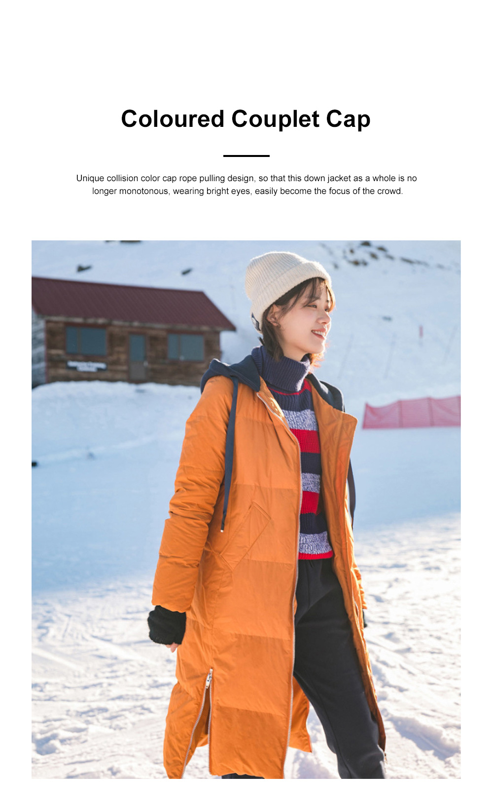 Inman Winter Autumn Long Hooded Down Wear New Coloured Hat Drawing Rope Side Opening Female Warm Down Jacket 1