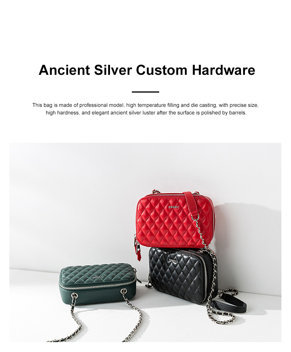 Inman Lady Leather Bag Spring and Autumn Literature Style Diamond Small Square Bag Chain Bag Tide Bag Lady Sheepskin Diagonal Bag 3