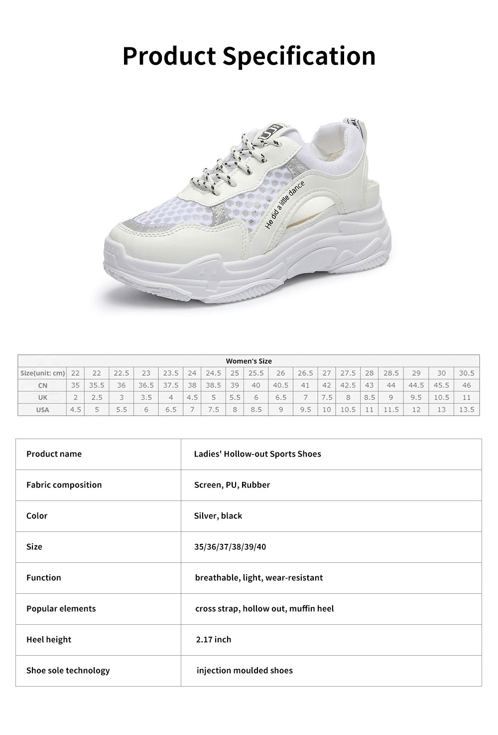 Ladies' Hollow-out Sports Shoes, Lady Breathable Cave Daddy Shoes and Net Shoes Summer 2020 6