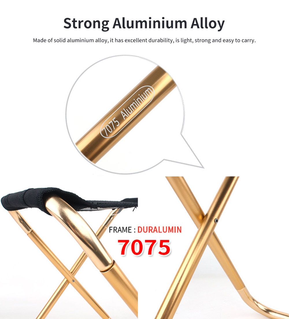 Outdoor Folding Chair, Aluminum Alloy Folding Stool for Fishing Barbecue Camping Portable Train Stool 1