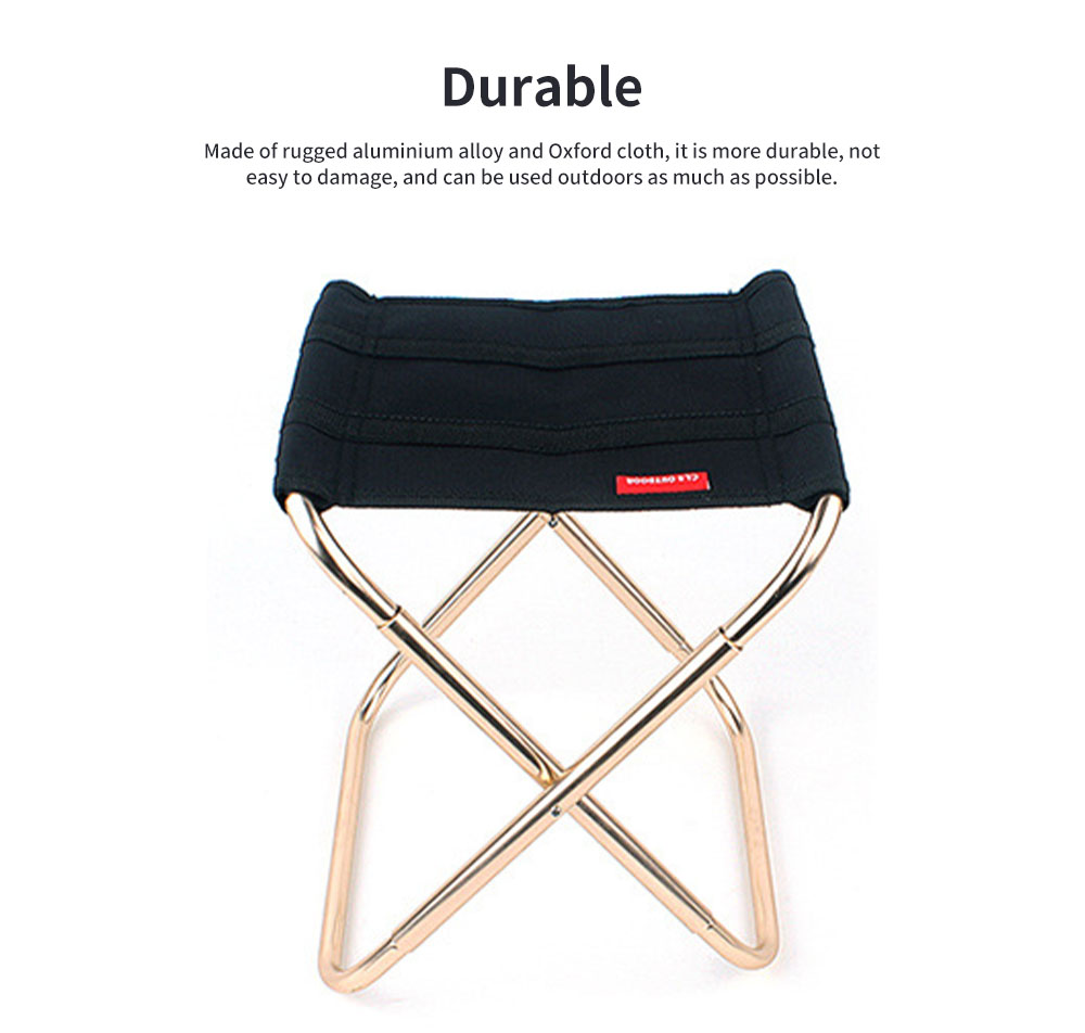 Outdoor Folding Chair, Aluminum Alloy Folding Stool for Fishing Barbecue Camping Portable Train Stool 5