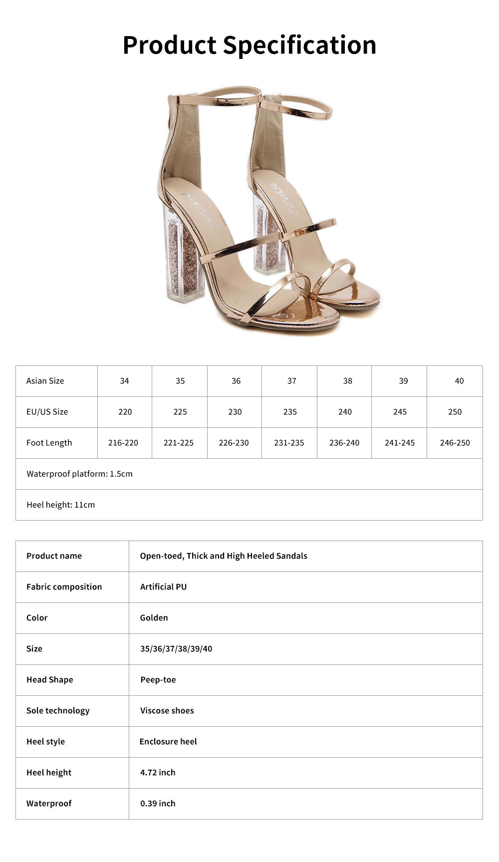 Summer 2020 Open-toed Thick and High Heeled Sandals, New Sequined Transparent High Heels 6