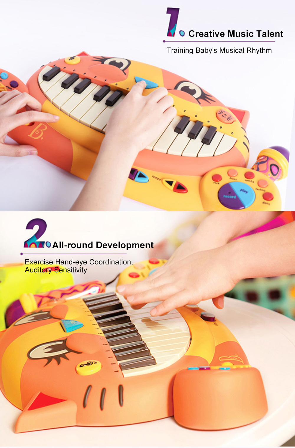 B.TOY Big Mouth Cat Piano Cartoon Early Teach Smart Electronic Piano for Infants and Young Children Music Toys 1