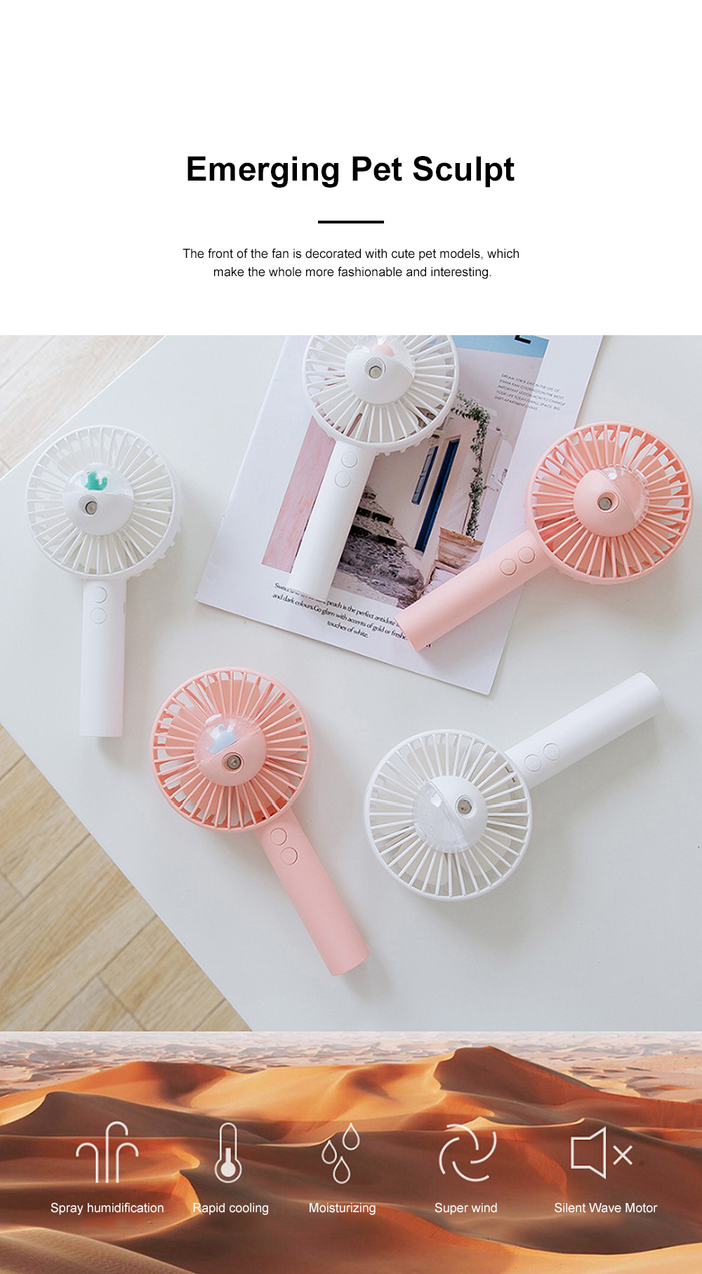 Portable Handheld Fan Cartoon Air Moistening Spray Fan Outdoor Portable Handheld Fan Creative Mini USB Cooler for Summer 5