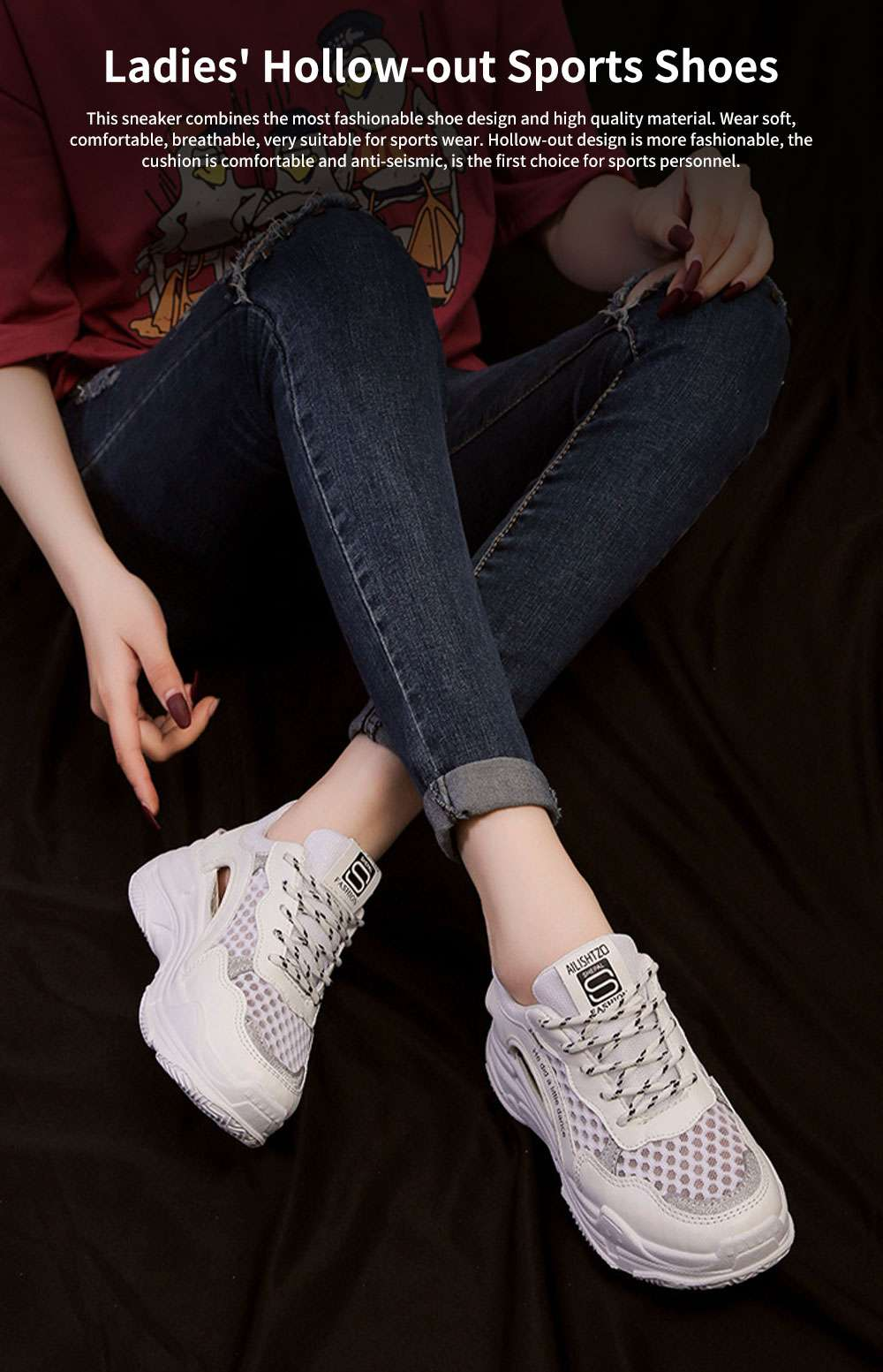 Ladies' Hollow-out Sports Shoes, Lady Breathable Cave Daddy Shoes and Net Shoes Summer 2020 0