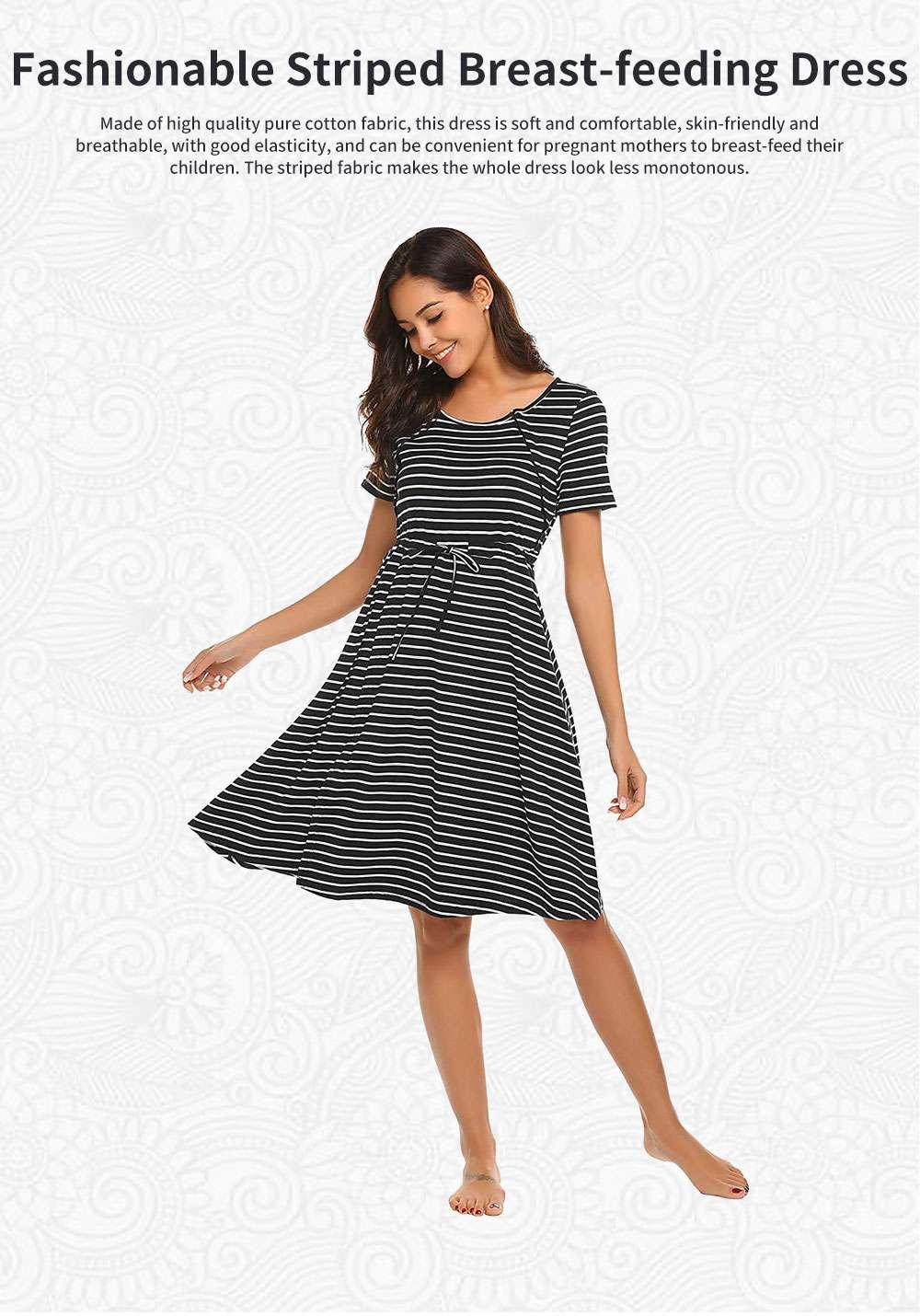 Fashionable Striped Skirt for Pregnant Women Short Sleeves Dress for Breast-feeding 0