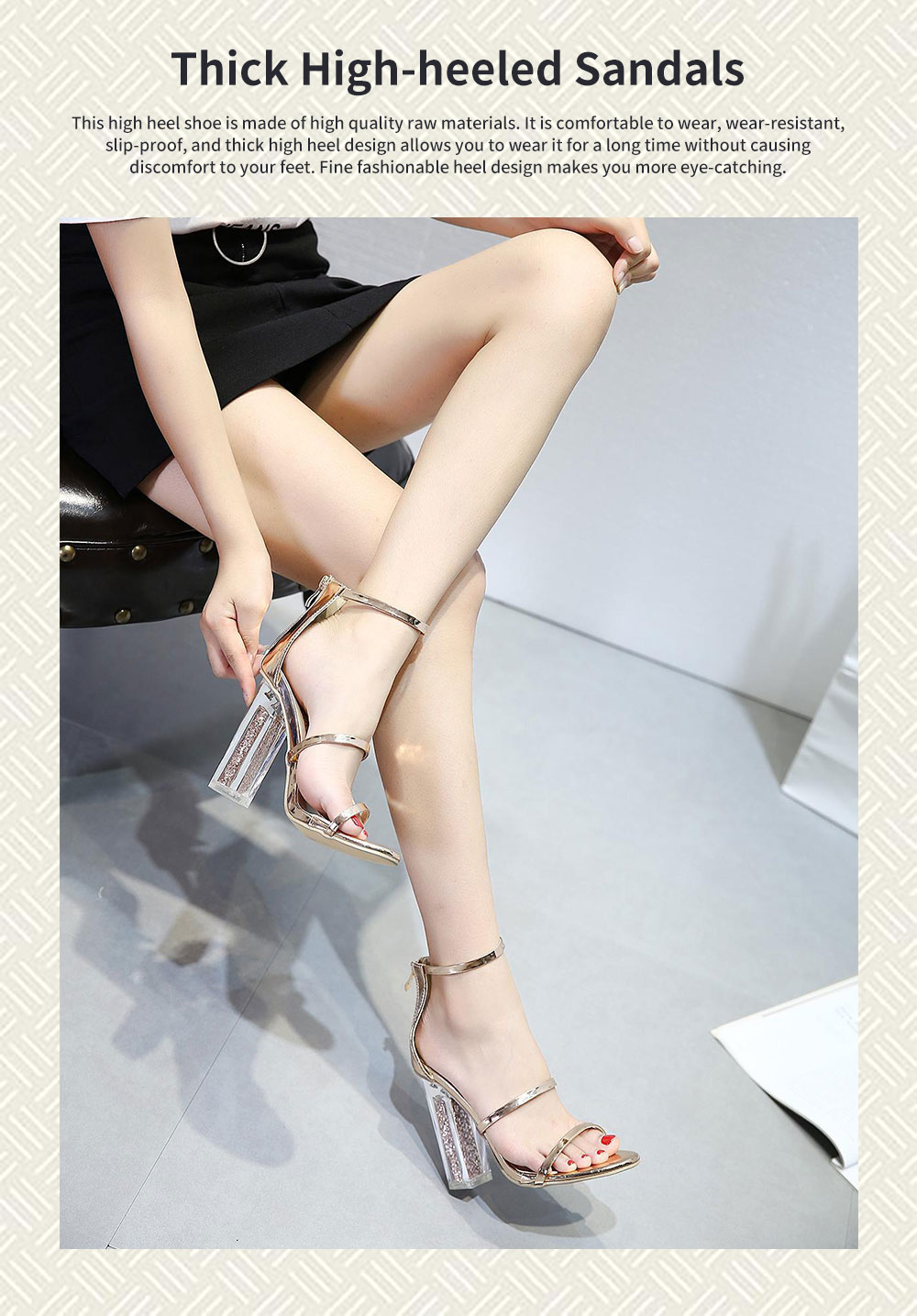 Summer 2020 Open-toed Thick and High Heeled Sandals, New Sequined Transparent High Heels 0