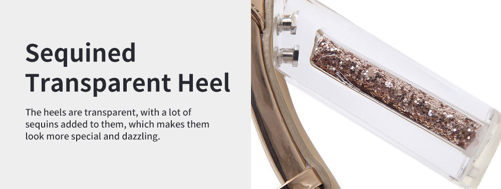 Summer 2020 Open-toed Thick and High Heeled Sandals, New Sequined Transparent High Heels 4
