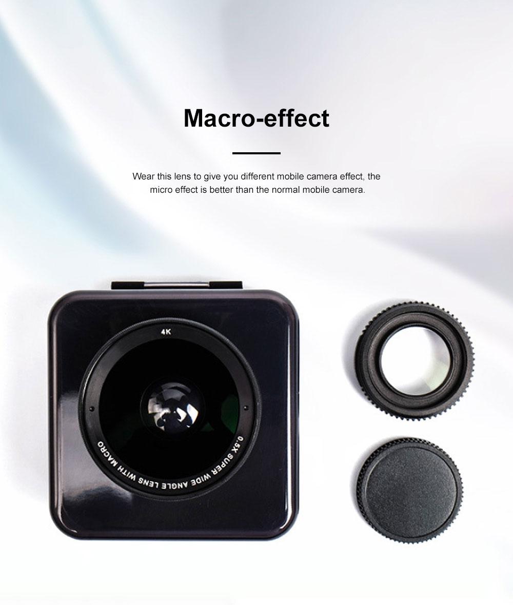 OKSENSE 4K Non-distortion Professional Mobile Phone Camera Lens Special Effect Lens Super Wide-angle Micro-range Camera Lens 4