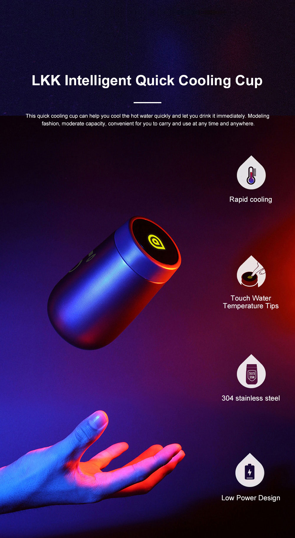 LKK Intelligent Quick Cooling Cup Creative Water Cup Home Portable Handy Cup 0
