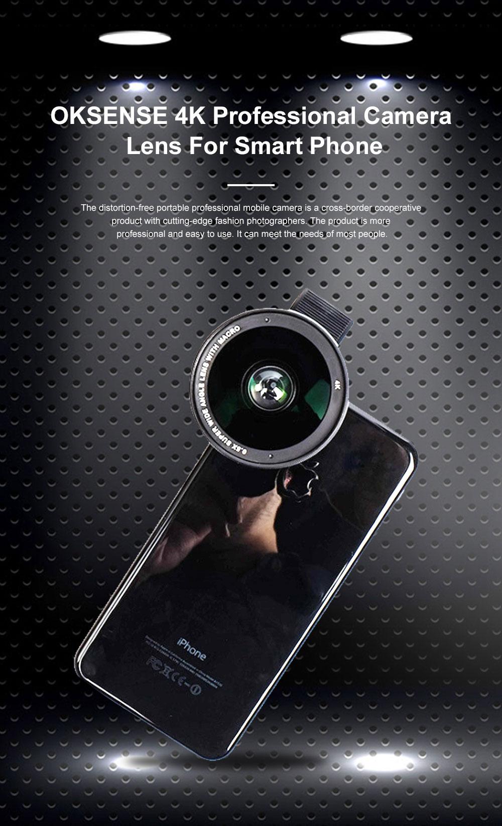 OKSENSE 4K Non-distortion Professional Mobile Phone Camera Lens Special Effect Lens Super Wide-angle Micro-range Camera Lens 0