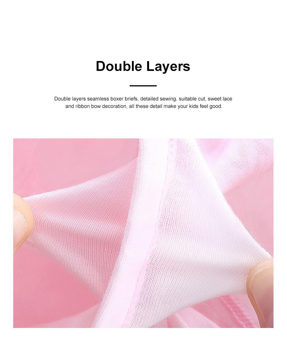 4pcs Girls Underwear Organic Cotton Boxer Briefs Cute Underwear Set for Girls 3-14 Years Old 4