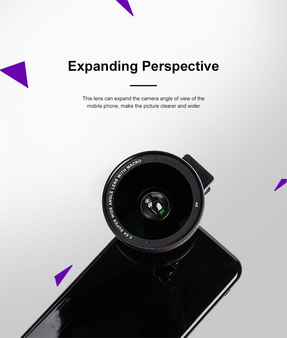 OKSENSE 4K Non-distortion Professional Mobile Phone Camera Lens Special Effect Lens Super Wide-angle Micro-range Camera Lens 5